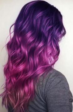 hair :) Purple Hair Hair care with Cosmetic Hair Treatments There are cosmetic treatments available Hair Dye Colors, Ombre Hair Color, Cool Hair Color, Magenta Hair, Cool Hair Dyed, Red Ombre, Purple And Green Hair, Pink Blue, Curly Purple Hair