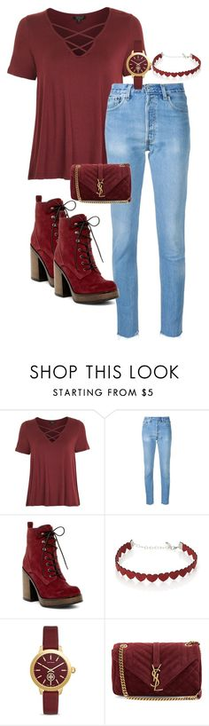 """""""Deep Red"""" by cg18 on Polyvore featuring Topshop, RE/DONE, Shellys, Simons, Tory Burch and Yves Saint Laurent"""