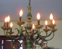 Vintage Italian Tole Chandelier Huge 10 Arm Light Retro Colors Farmhouse Chic Measures aprox 22High and 24 wide with 10 arms! All metal some