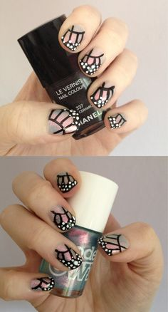 Butterfly wing nails, using Models Own (Indian Ocean and nail art pens in black and white) and Chanel (Noir Ceramic).