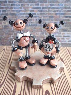 custom robot wedding cake toppers