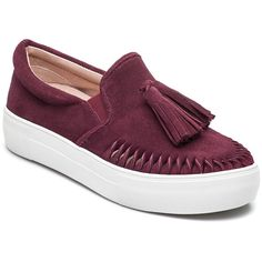 J/SLIDES Aztec Burgundy Suede Slip On (€83) ❤ liked on Polyvore featuring shoes, loafers, burgandy suede, fringe shoes, tassle loafers, suede slip on shoes, suede tassel loafers and platform loafers