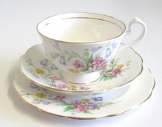 Vintage Tea Trio Bell China Wild Flowers by TheWhistlingMan