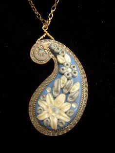 Paisley Flower Hand Sculpted Polymer Clay Pendant Necklace. $30.00, via Etsy.