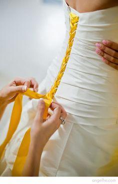 Color ribbon corset back