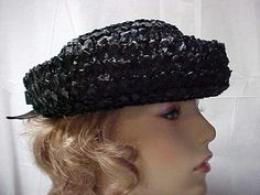 Similar to my navy,that has smaller crown & brim. ALady? Black straw derby hat with rolled up brim by designer2 on Etsy, $24.00
