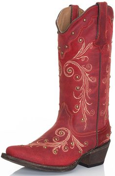 Tanner Mark Womens Ginger Cowgirl Boots - Red $210.00 Red Cowgirl Boots, Cowgirl Tuff, Sexy Cowgirl, Cowboy Boots Women, Red Boots, Cowgirl Style, Western Boots, Mode Country, Country Style