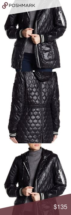 BLACK QUILTED ANORAK JACKET COAT Fun quilted pattern and contrast stripe cuffs.  Attached adjustable hood.  Long raglan sleeves with contrast elasticized striped cuffs, left sleeve patch pocket with zip closure and four pen holders.  Front zip closure with two front patch pockets with fold over snap button closure.  Interior cinch waist-back vent with tie closure. BCBGeneration Jackets & Coats