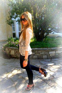 lace blazer + black skinnies + heels
