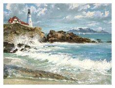 Lighthouse Art Print by Lidia Dynner at Art.com