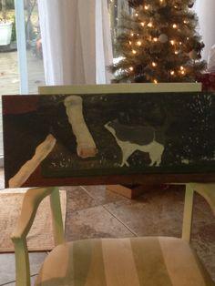 "Kitty ""Moo"", acrylic painted on old barn wood. Artist: Kare Dreher"