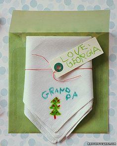 DIY holiday gifts: handkerchief tutorial from Martha Stewart.