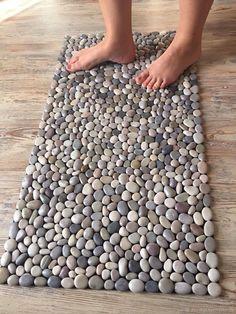 "Mat massage pebble ""Mix"" – shop online on Livemaster with shipping - . - Mat massage pebble ""Mix"" – shop online on Livemaster with shipping – Stone Crafts, Rock Crafts, Diy Home Crafts, Diy Arts And Crafts, Diy Home Decor, Diy Para A Casa, Stone Rug, Barn Wood Crafts, Handmade Home"