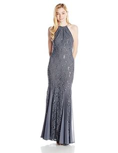 Jump Juniors Stretch Lace Halter Neck Gown with Sequins, Gunmetal, 1/2