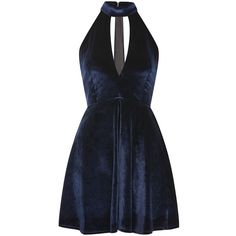 Velvet High Neck Skater Dress by Oh My Love (£42) ❤ liked on Polyvore featuring dresses, navy blue, high-neck dresses, navy dress, skater dress, navy blue skater dress and velvet skater dress