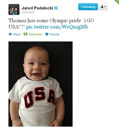 I'm not sure why but I automatically start smiling/laughing when i see a picture of this kid...I think it's because it makes me so happy how much he looks exactly like his dad. Same puppy dog eyes, same adorable nose and same happy smile...I applaud Jared and Gen - nice job guys :)