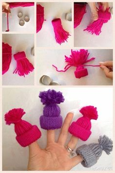 Gorrinho feito de lã para bonecas Barbie com rolinho de papel higiênico
