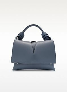 View Handle w/Knot Open Blue Leather Bag - Jil Sander