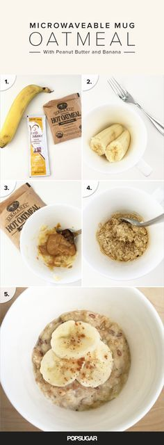 Microwaveable Mug Oatmeal With Peanut Butter and Banana recipe that's a vegan, gluten-free recipe!