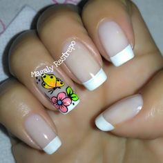 Francés💅🏼❤ Crazy Nails, Love Nails, Fun Nails, Pretty Nails, Butterfly Makeup, Manicure Colors, Nail Effects, Cute Acrylic Nails, Stylish Nails