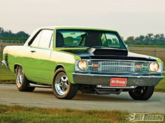 This lime green 1969 Dodge Dart GT has been fully customized and is race-ready! It features a 440ci big-block Chrysler engine, a 727 TorqueFlite transmission, RMS AlterKtion suspension components, and much more! Check out further vehicle specs, along with detailed pictures, at Popular Hot Rodding Magazine.