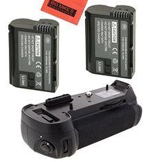 Battery Grip Kit for Nikon D750 DSLR Camera (MB-D16 Replacement)-Includes Qty 2 ENEL15 Batteries + Vertical Battery Grip