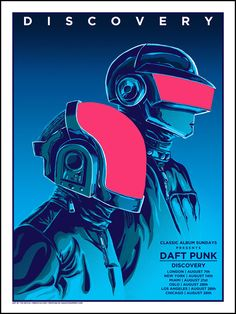 Daft Punk (Discovery) poster by American artist Tim Doyle - French Paper Art Club