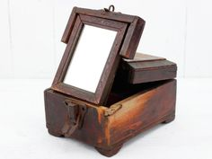Once upon a time these vintage boxes would have been used by barbers to store their scissors, razor blades and other tools. Vintage Box, Vintage Metal, Vintage Leather, Vintage Chairs, Vintage Furniture, Trunks And Chests, Wooden Chest, Wet Shaving, Working Area