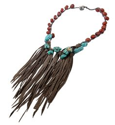 Gorgeous Leather Fringed with Turquoise Stones by Sea by Smadar Eliasaf Art Jewelry. Now in Privee Showroom.
