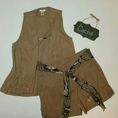 Cache 3 pc Short and Vest Set Includes Shorts, Scarf, and matching Vest. Shorts with Scarf are NWT and size 8. Vest is NWOT and size medium. Made of super soft tencil with stud detailing Shorts