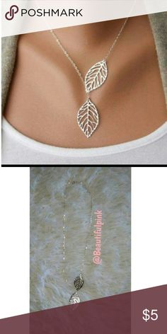 Leaf necklace 1x beautiful leaf design silver necklace  Brand new Has adjustable clasp 2nd pic tooken by me. Jewelry Necklaces