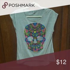 """Sugar Skull Bright Graphic Hi/Lo Tee So cute! Made to have a roomy fit. Heather gray. Cap sleeves (almost sleeveless). Hi/Lo  (about 3"""" lower in the back). The 3rd pic is in lower light so you can see the colors.  90% polyester, 10% rayon. Length from top to bottom (of longest side) is about 27 1/2""""  Pristine condition! I don't see any signs of wear. Charlotte Russe Tops Tees - Short Sleeve"""