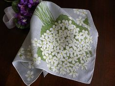 Vintage White Violet Bouquet Handkerchief on Gray