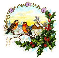 Natal com passaros e azevinho, paisagem além, sempre próximo de casas