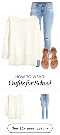 White Lace Top + Tory Burch Miller Sandals | Outfits for School