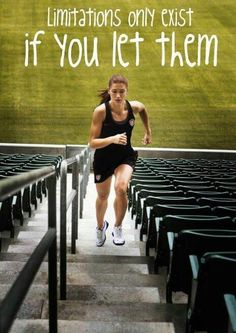 """""""Limitations only exist if you let them"""" motivational message with a female professional athlete in the picture"""
