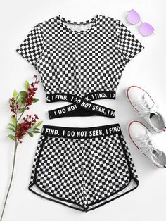 Criss Cross Hem Gingham Tee With Shorts Criss Cross Hem Gingham Tee With ShortsFor Women-romwe Girls Fashion Clothes, Teen Fashion Outfits, Swag Outfits, Clothes For Women, Chic Outfits, Cute Outfits For Kids, Outfits For Teens, Summer Outfits, Pajama Outfits