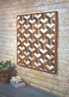 Reclaimed Wood Wall Art Tessellation 30 x 30 by EleventyOneStudio