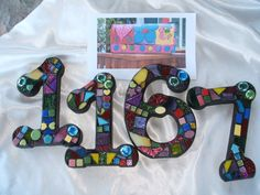 Custom Made Stained Glass Mosaic House by WiseCrackinMosaics Mosaic Art, Mosaic Glass, Mosaic Tiles, Mosaics, House Numerology, Numerology Numbers, Mosaic Crosses, Making Stained Glass, House Numbers