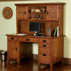 Home Styles Arts and Crafts Desk and Hutch combo features a solid hardwood construction in a rich cottage oak finish. Desk features four easy glide drawers, center drawer drops down to accommodate a keyboard tray, side compartment on left holds CPU, Office Desk With Hutch, Desk Hutch, Home Office Desks, Home Office Furniture, Furniture Ideas, Furniture Outlet, Online Furniture, Rustic Furniture, Bedroom Furniture