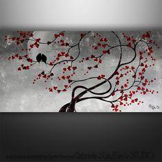 Paisaje abstracto árbol aves flor asiática de pintura por Catalin, $199.00