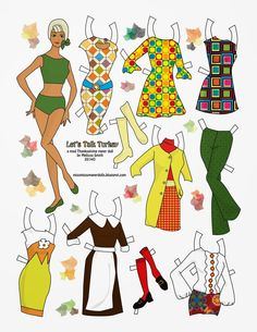 LETS TALK TURKEY by Melissa Smith Doll is based on Talking Stacey doll. Two of the outfits were inspired by mod Barbie dresses. Others are by Miss Missy. Clothing was inspired by the late 60s and includes a Pilgrim dress. The pants go with her swimsuit.