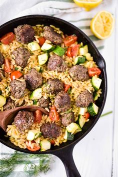 Greek Meatballs and Lemon Orzo Skillet - The Gingered Whisk - This easy one pan meal is great for busy families - a great dinner for toddlers and baby led weaning! Orzo Recipes, Greek Recipes, Side Dish Recipes, Easy Dinner Recipes, Cooking Recipes, Healthy Recipes, Cooking Gadgets, Pizza Recipes, Healthy Meals