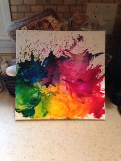 Melt crayons onto a canvas using a hair dryer! Simple, easy, fun to do! Turns out amazing!