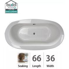 "Jacuzzi BRA6636BCXXXX Bravo 66"" Soaking Drop In Bathtub with Center Drain White Tub Soaking Drop-In"