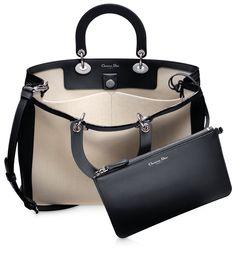 DIORISSIMO - Smooth two-tone beige/crimson red leather 'Diorissimo' bag