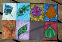 fall oil pastel simple fall shapes,analogous colors for object, complementary for background I might do just 4 objects