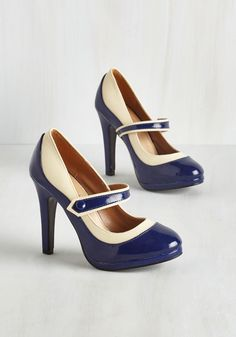 Classy Indeed Heel in Navy. Should you declare these deep blue and ivory heels the most dapper pair you ever did see, youll have a street style following! #blue #modcloth