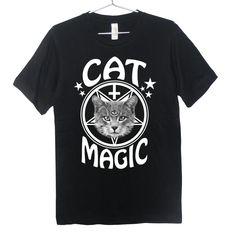 Occult Cat T-Shirt - Cat Magic, Goth, Pastel Goth, Grunge, Satanic, Hipster, Inverted Cross. $24.99, via Etsy.