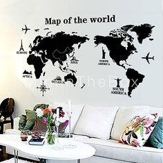 This item is available 3 sizes and 15 different colours all items visit to buy modern world map wall stickers stencil black vinyl mural decals man home living room office school classroom decor gumiabroncs Image collections